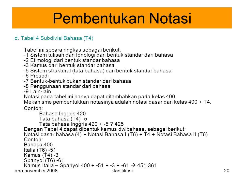 Pembentukan Notasi d. Tabel 4 Subdivisi Bahasa (T4)