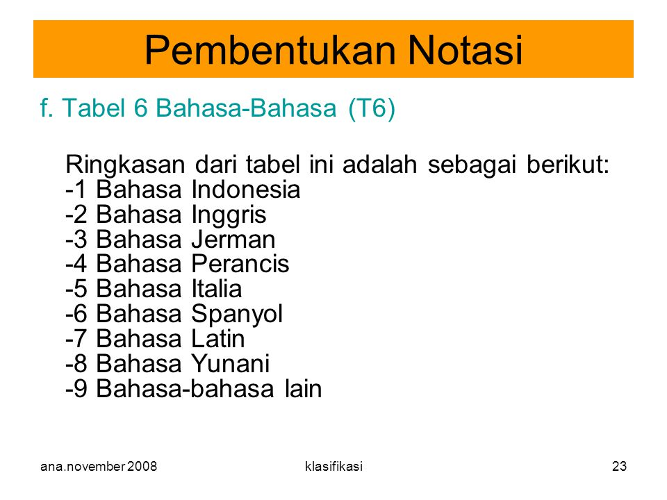 Pembentukan Notasi f. Tabel 6 Bahasa-Bahasa (T6)