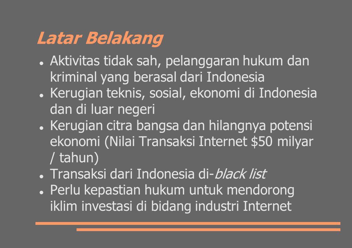 Latar Belakang Aktivitas tidak sah, pelanggaran hukum dan kriminal yang berasal dari Indonesia.