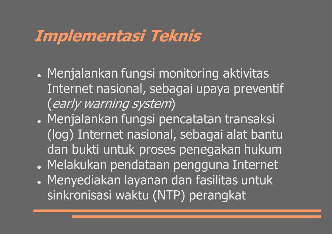 Implementasi Teknis Menjalankan fungsi monitoring aktivitas Internet nasional, sebagai upaya preventif (early warning system)