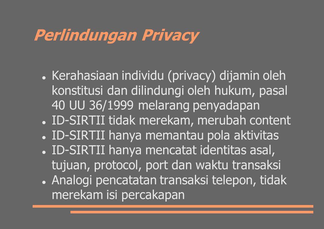 Perlindungan Privacy Kerahasiaan individu (privacy) dijamin oleh konstitusi dan dilindungi oleh hukum, pasal 40 UU 36/1999 melarang penyadapan.