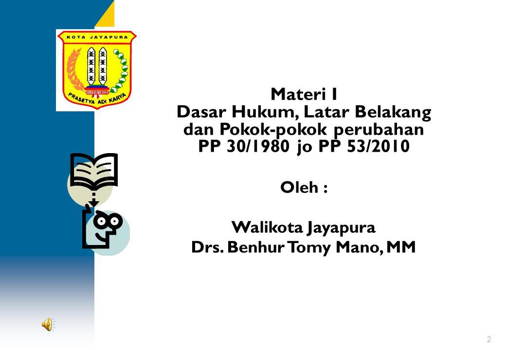 Materi I Dasar Hukum, Latar Belakang dan Pokok-pokok perubahan PP 30/1980 jo PP 53/2010