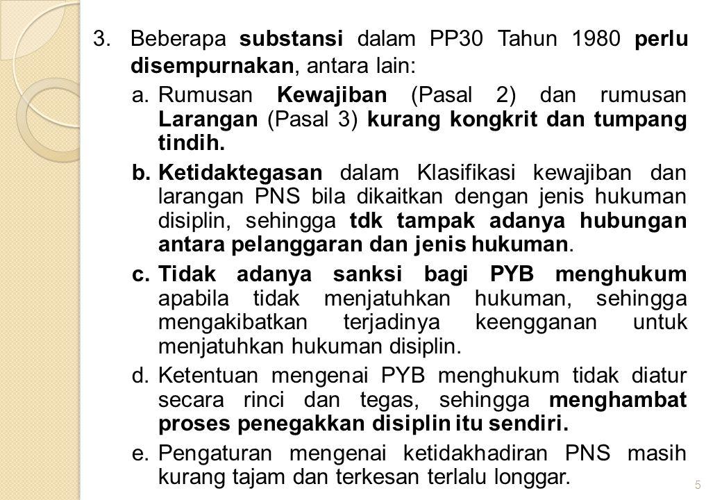 Beberapa substansi dalam PP30 Tahun 1980 perlu disempurnakan, antara lain: