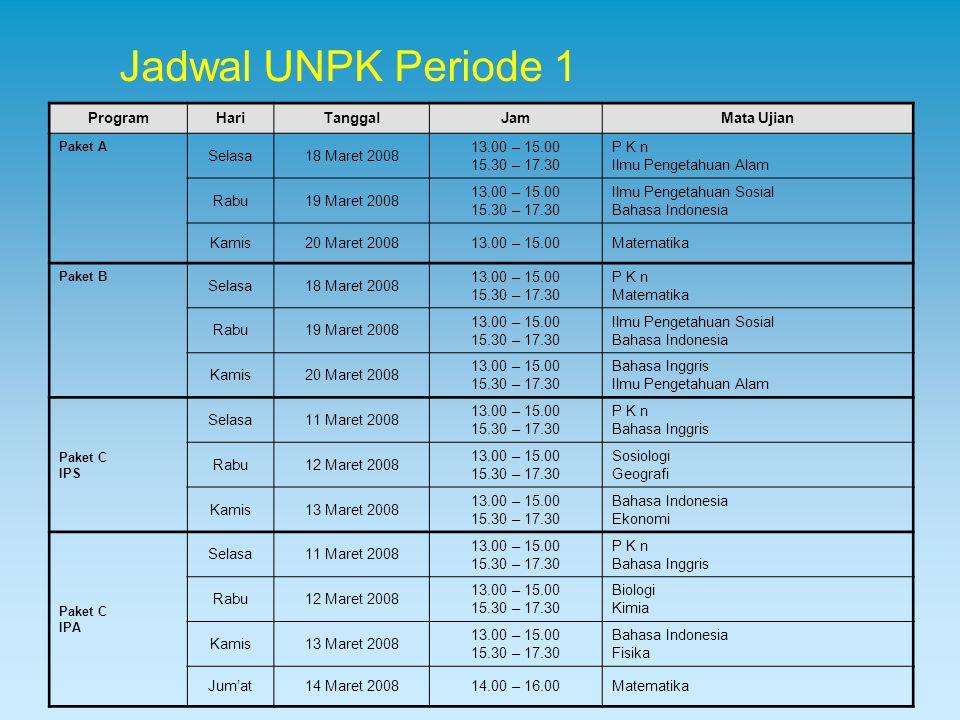 Jadwal UNPK Periode 1 Program Hari Tanggal Jam Mata Ujian Selasa