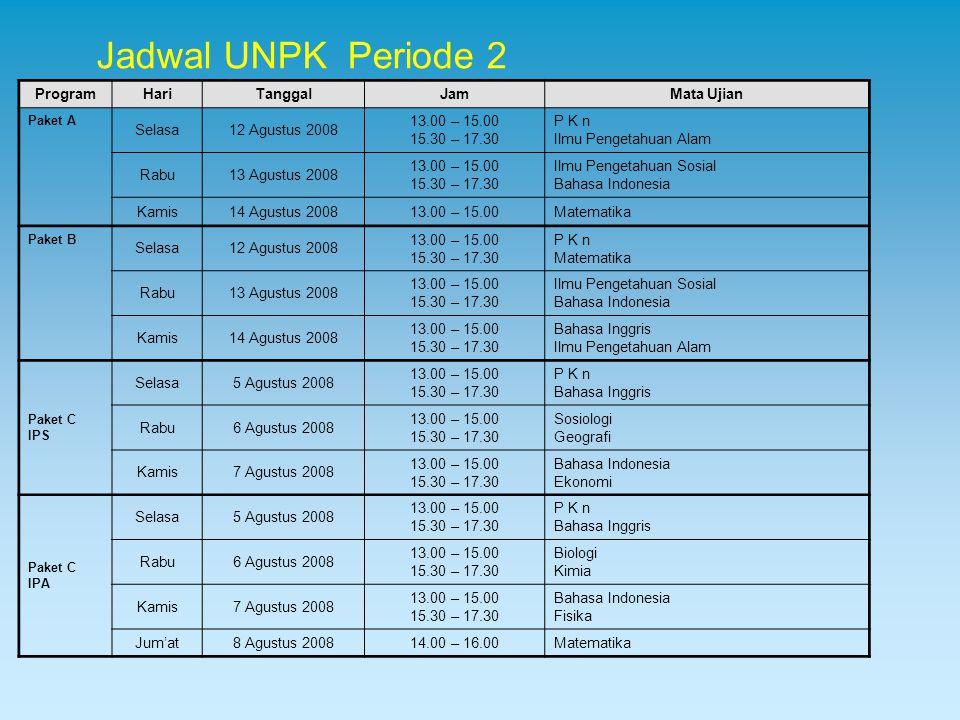 Jadwal UNPK Periode 2 Program Hari Tanggal Jam Mata Ujian Selasa