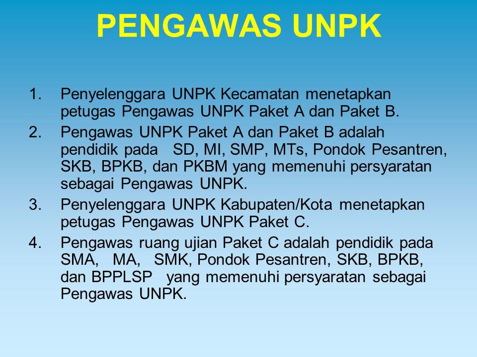 PENGAWAS UNPK Penyelenggara UNPK Kecamatan menetapkan petugas Pengawas UNPK Paket A dan Paket B.