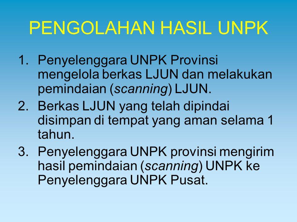 PENGOLAHAN HASIL UNPK Penyelenggara UNPK Provinsi mengelola berkas LJUN dan melakukan pemindaian (scanning) LJUN.