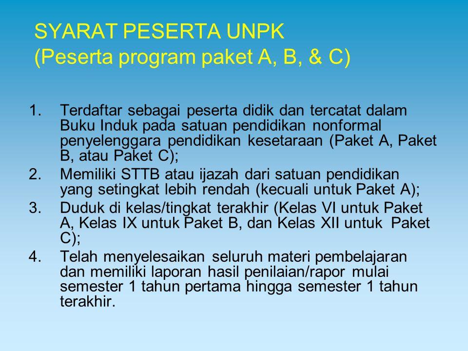 SYARAT PESERTA UNPK (Peserta program paket A, B, & C)