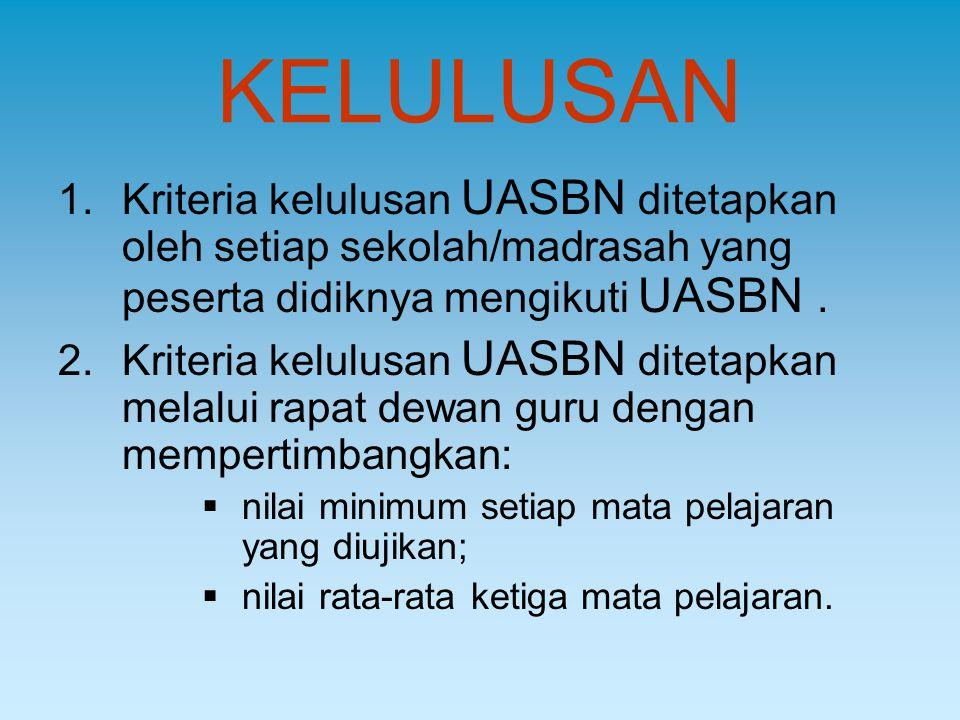KELULUSAN Kriteria kelulusan UASBN ditetapkan oleh setiap sekolah/madrasah yang peserta didiknya mengikuti UASBN .
