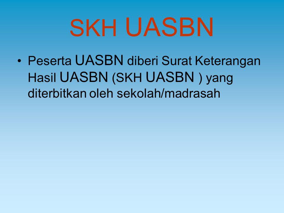 SKH UASBN Peserta UASBN diberi Surat Keterangan Hasil UASBN (SKH UASBN ) yang diterbitkan oleh sekolah/madrasah.