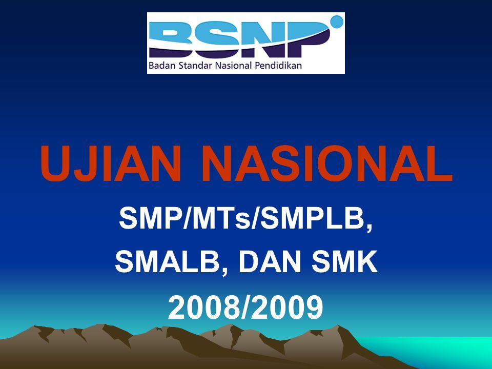 UJIAN NASIONAL SMP/MTs/SMPLB, SMALB, DAN SMK 2008/2009