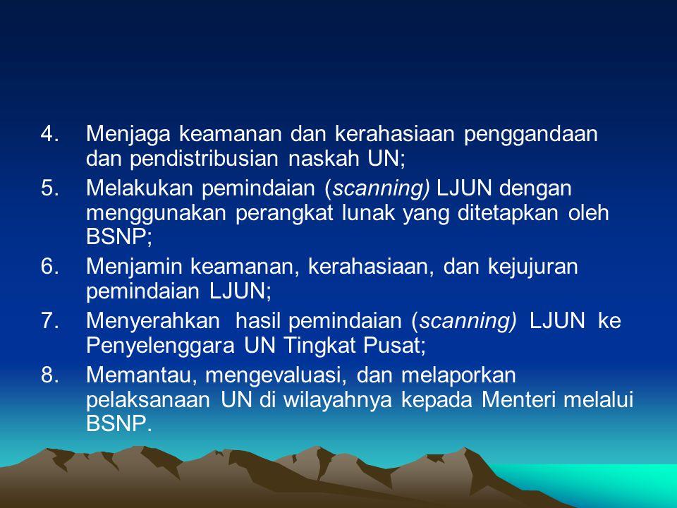 Menjaga keamanan dan kerahasiaan penggandaan dan pendistribusian naskah UN;