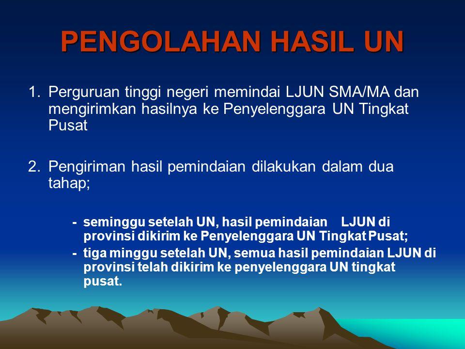 PENGOLAHAN HASIL UN Perguruan tinggi negeri memindai LJUN SMA/MA dan mengirimkan hasilnya ke Penyelenggara UN Tingkat Pusat.