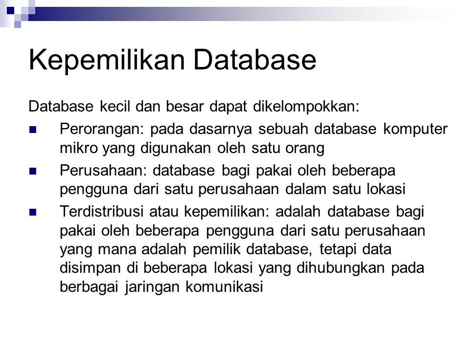Kepemilikan Database Database kecil dan besar dapat dikelompokkan: