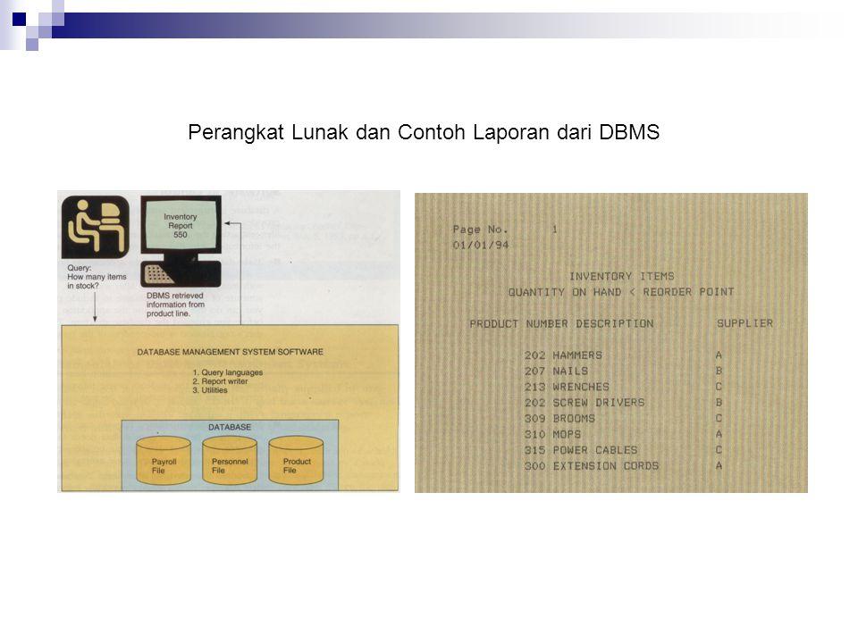Perangkat Lunak dan Contoh Laporan dari DBMS