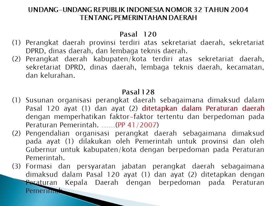 UNDANG-UNDANG REPUBLIK INDONESIA NOMOR 32 TAHUN 2004 TENTANG PEMERINTAHAN DAERAH