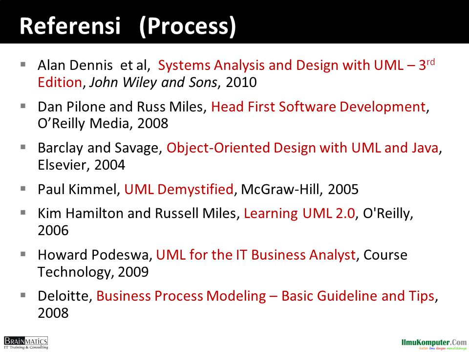 Referensi (Process) Alan Dennis et al, Systems Analysis and Design with UML – 3rd Edition, John Wiley and Sons, 2010.