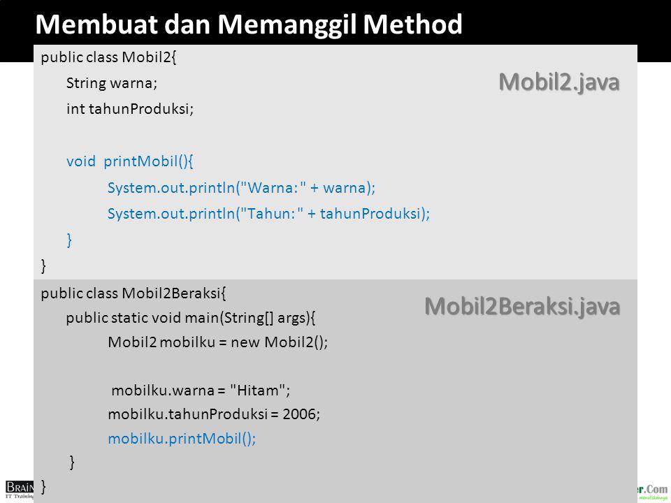 Membuat dan Memanggil Method
