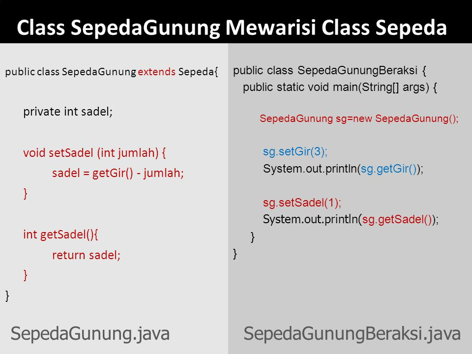 Class SepedaGunung Mewarisi Class Sepeda