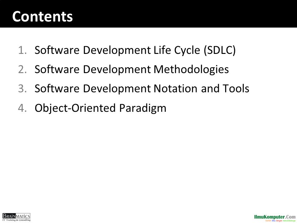 Contents Software Development Life Cycle (SDLC)