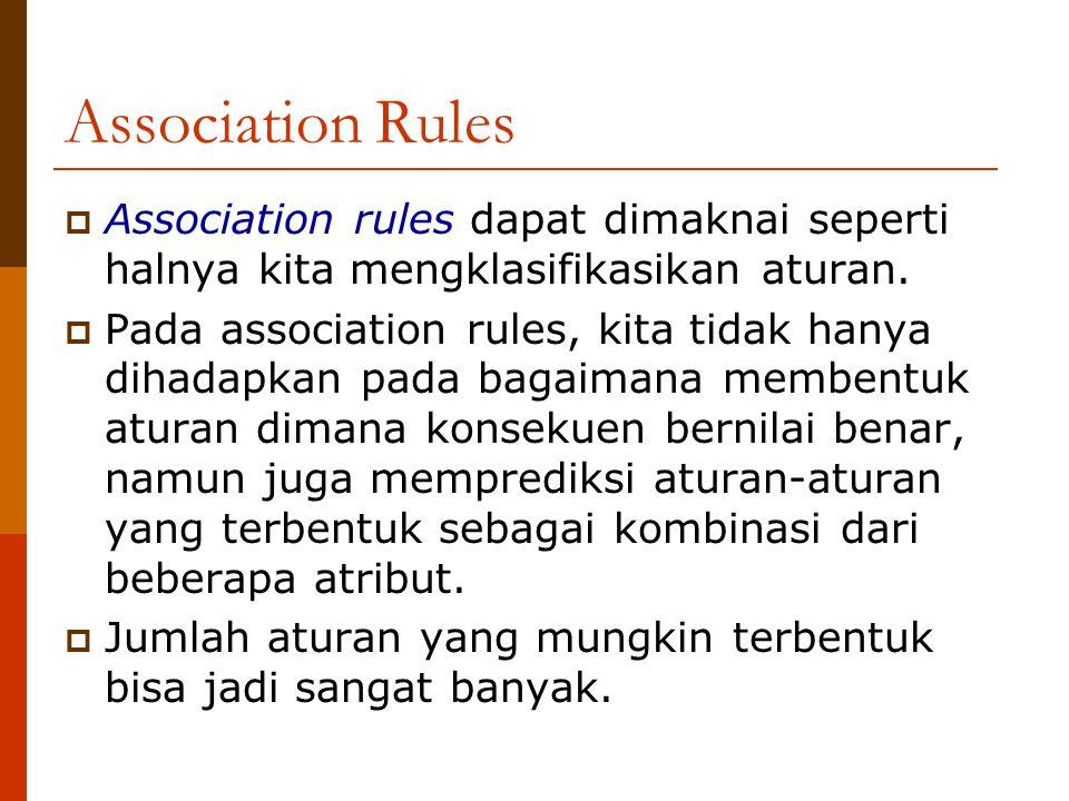 Association Rules Association rules dapat dimaknai seperti halnya kita mengklasifikasikan aturan.