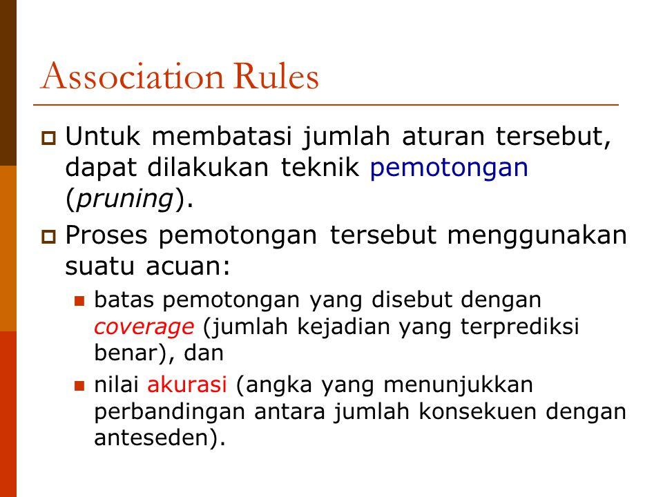 Association Rules Untuk membatasi jumlah aturan tersebut, dapat dilakukan teknik pemotongan (pruning).