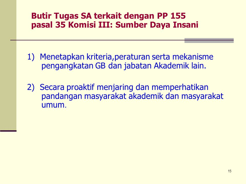 Butir Tugas SA terkait dengan PP 155 pasal 35 Komisi III: Sumber Daya Insani