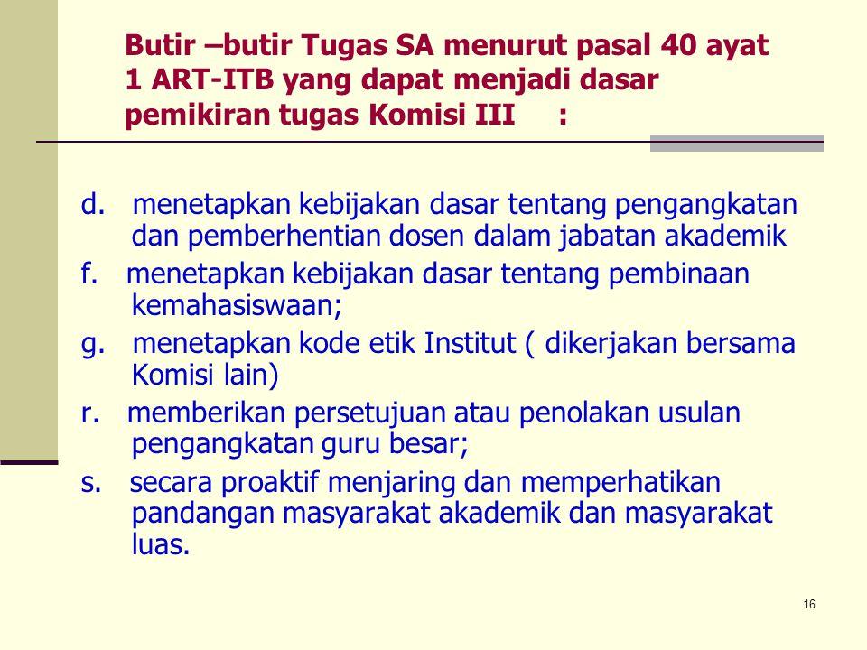 Butir –butir Tugas SA menurut pasal 40 ayat 1 ART-ITB yang dapat menjadi dasar pemikiran tugas Komisi III :