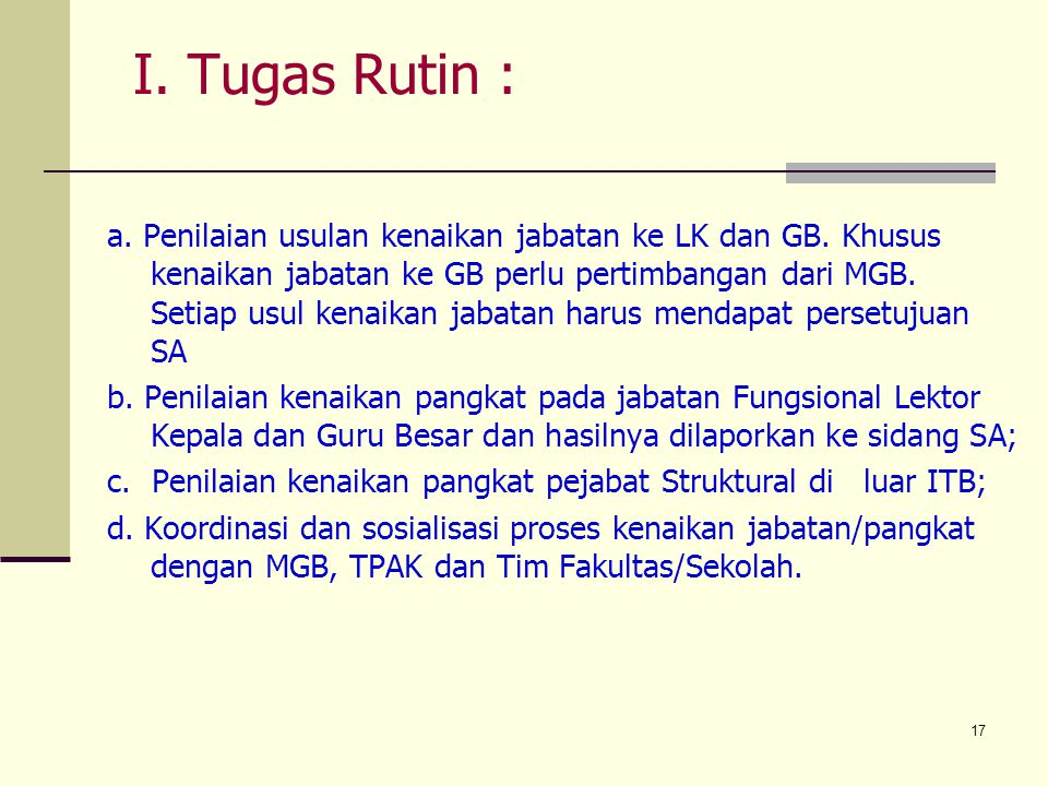 I. Tugas Rutin :