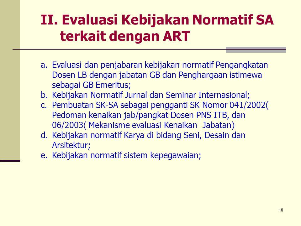 II. Evaluasi Kebijakan Normatif SA terkait dengan ART
