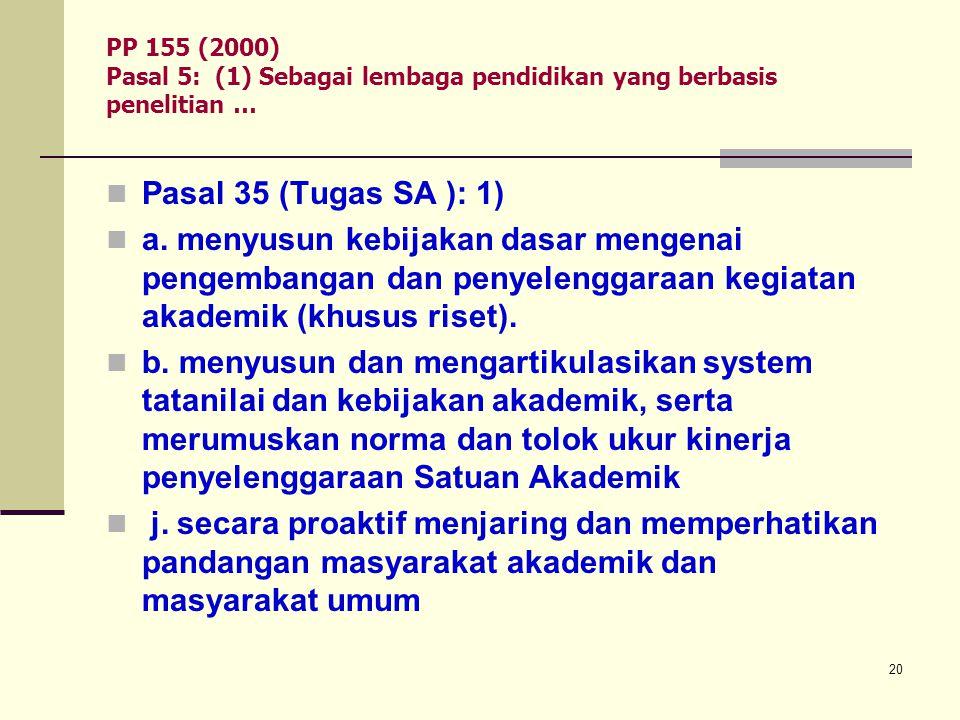 PP 155 (2000) Pasal 5: (1) Sebagai lembaga pendidikan yang berbasis penelitian …