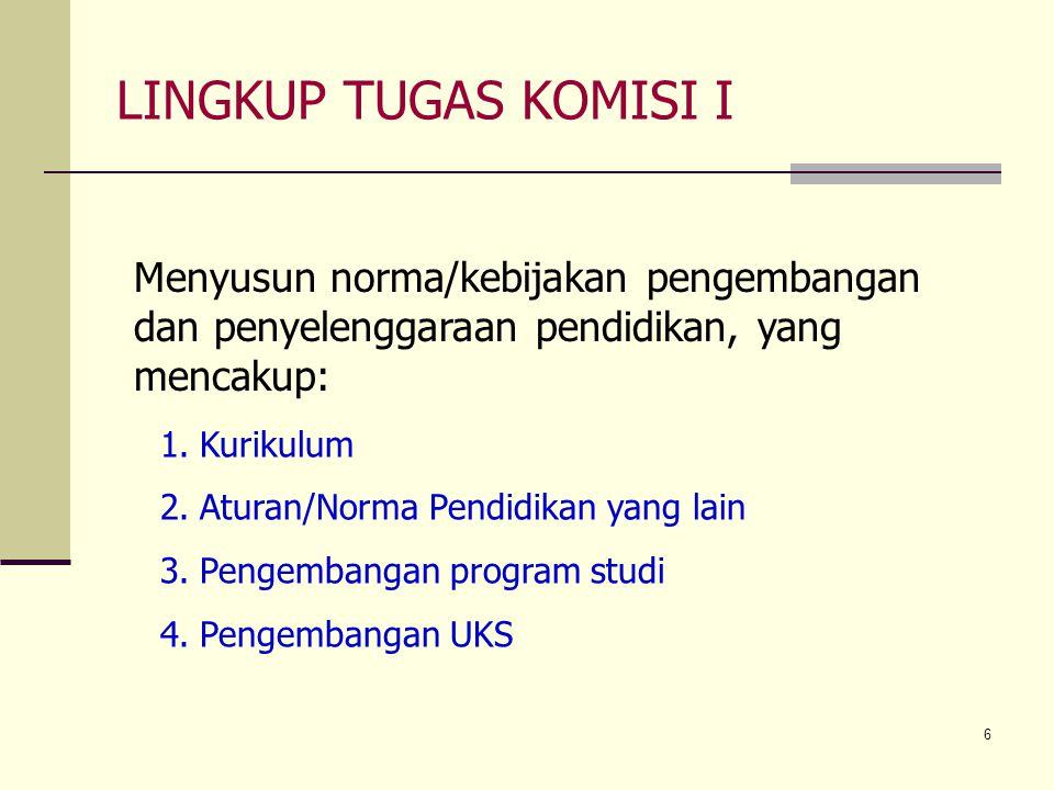 LINGKUP TUGAS KOMISI I Menyusun norma/kebijakan pengembangan dan penyelenggaraan pendidikan, yang mencakup: