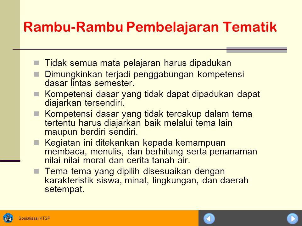 Rambu-Rambu Pembelajaran Tematik