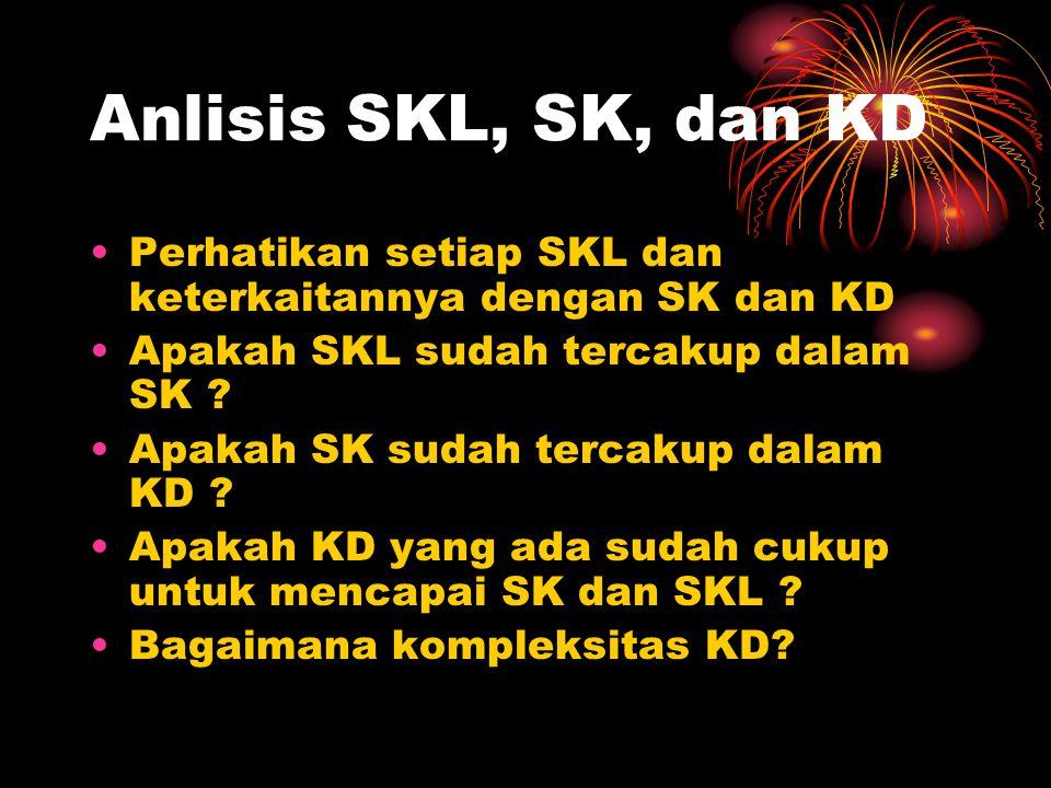 Anlisis SKL, SK, dan KD Perhatikan setiap SKL dan keterkaitannya dengan SK dan KD. Apakah SKL sudah tercakup dalam SK