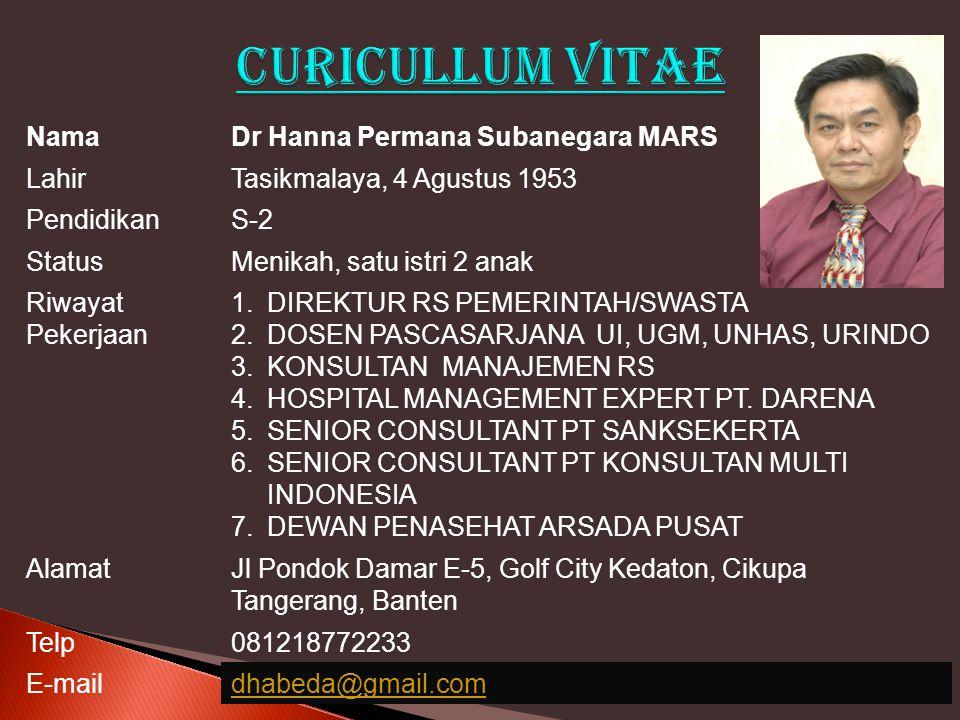 CURICULLUM VITAE Nama Dr Hanna Permana Subanegara MARS Lahir