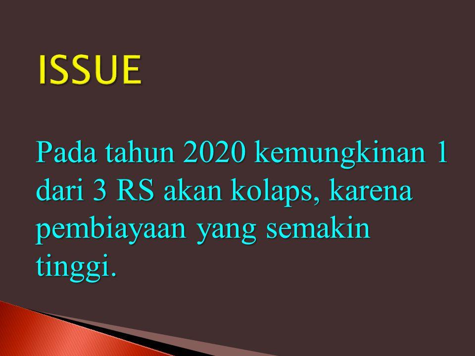 ISSUE Pada tahun 2020 kemungkinan 1 dari 3 RS akan kolaps, karena pembiayaan yang semakin tinggi.
