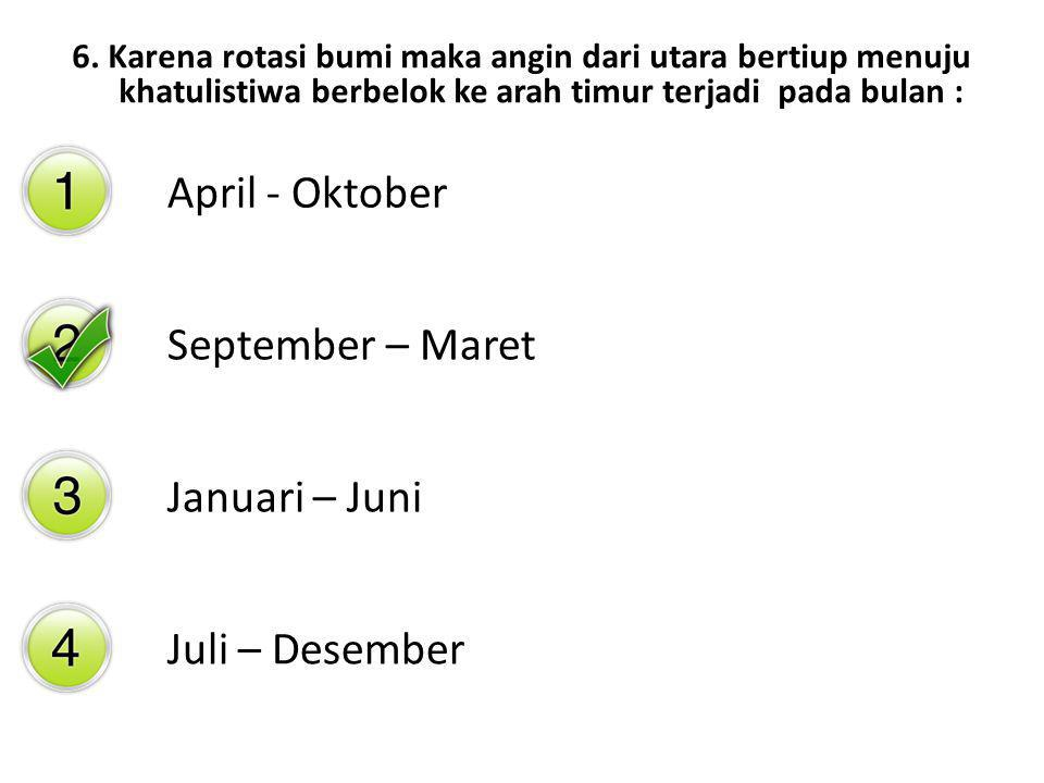 April - Oktober September – Maret Januari – Juni Juli – Desember