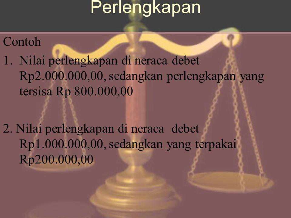 Perlengkapan Contoh. Nilai perlengkapan di neraca debet Rp2.000.000,00, sedangkan perlengkapan yang tersisa Rp 800.000,00.