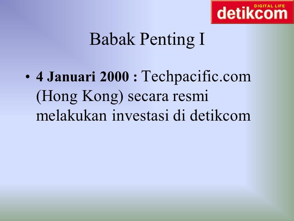 Babak Penting I 4 Januari 2000 : Techpacific.com (Hong Kong) secara resmi melakukan investasi di detikcom.