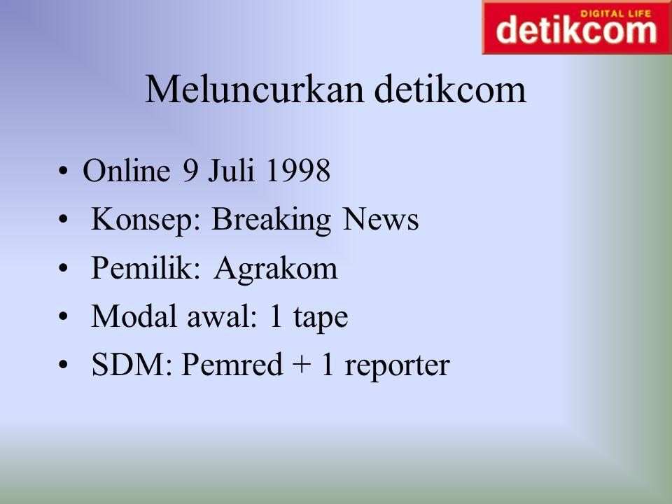 Meluncurkan detikcom Online 9 Juli 1998 Konsep: Breaking News