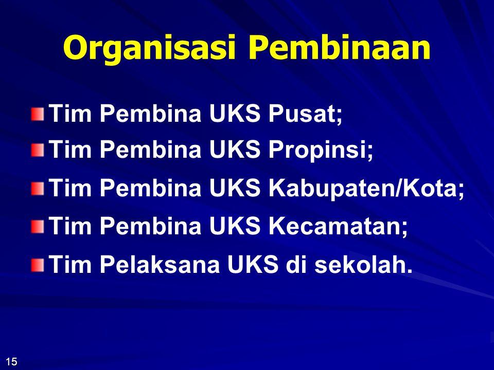 Organisasi Pembinaan Tim Pembina UKS Pusat; Tim Pembina UKS Propinsi;
