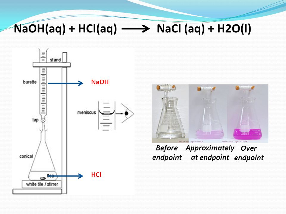 NaOH(aq) + HCl(aq) NaCl (aq) + H2O(l) Approximately at endpoint