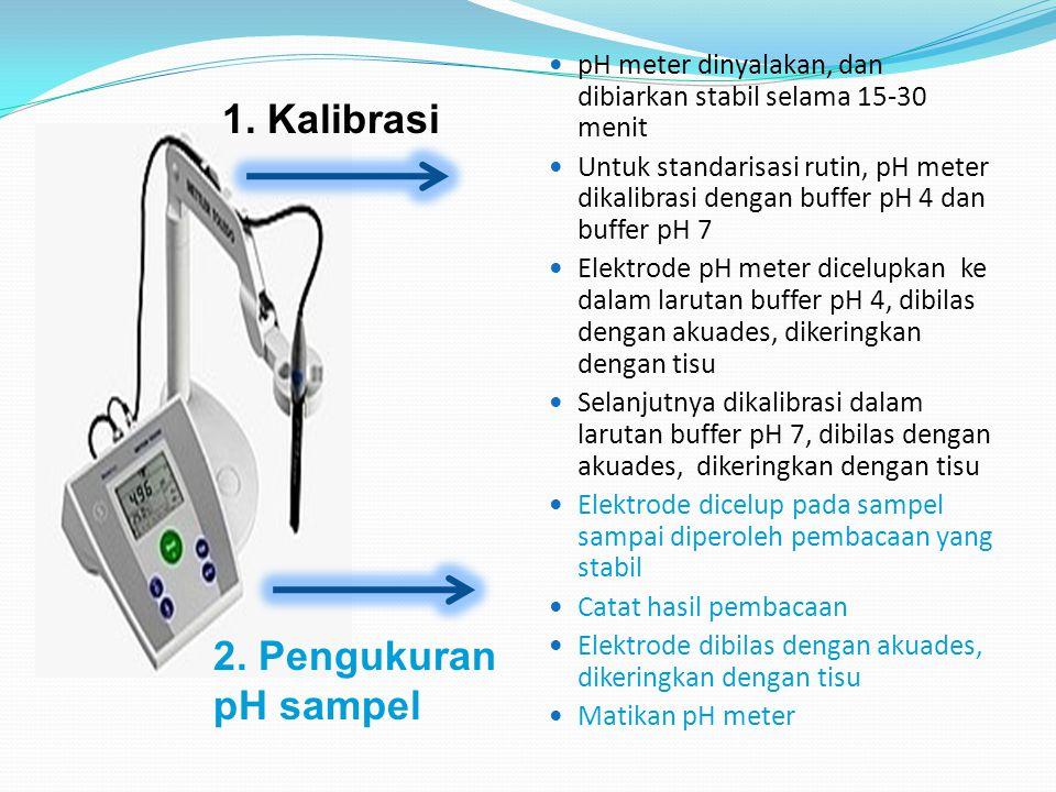1. Kalibrasi 2. Pengukuran pH sampel