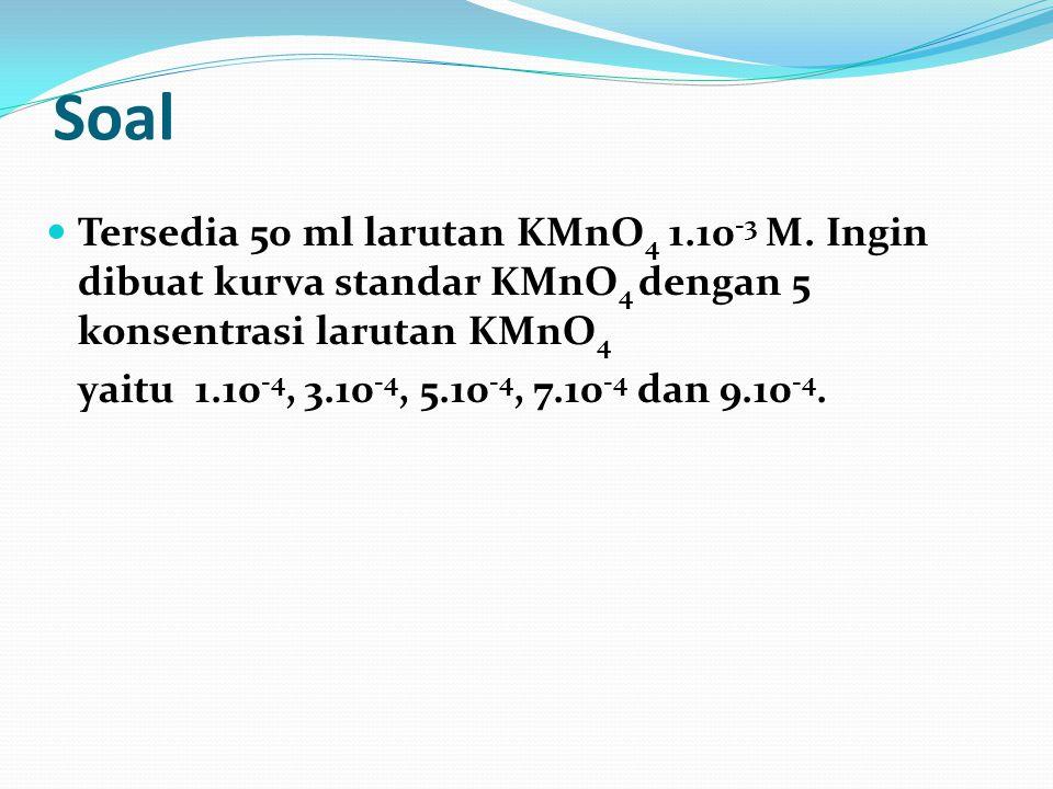 Soal Tersedia 50 ml larutan KMnO4 1.10-3 M. Ingin dibuat kurva standar KMnO4 dengan 5 konsentrasi larutan KMnO4.