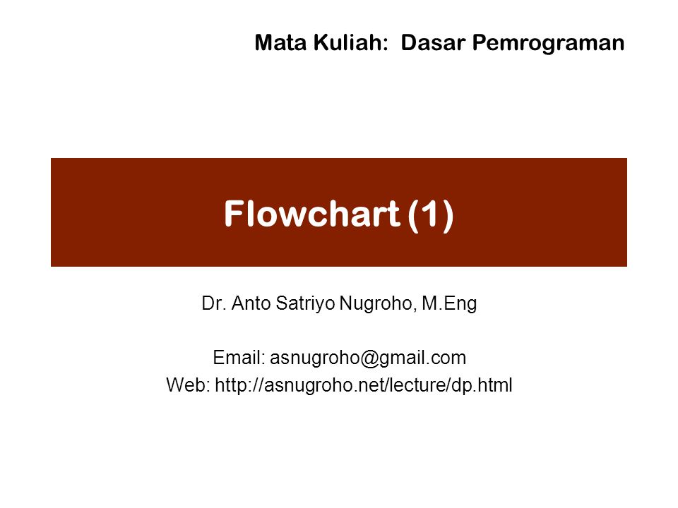 Flowchart (1) Mata Kuliah: Dasar Pemrograman