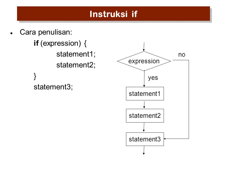 Instruksi if Cara penulisan: if (expression) { statement1; statement2;