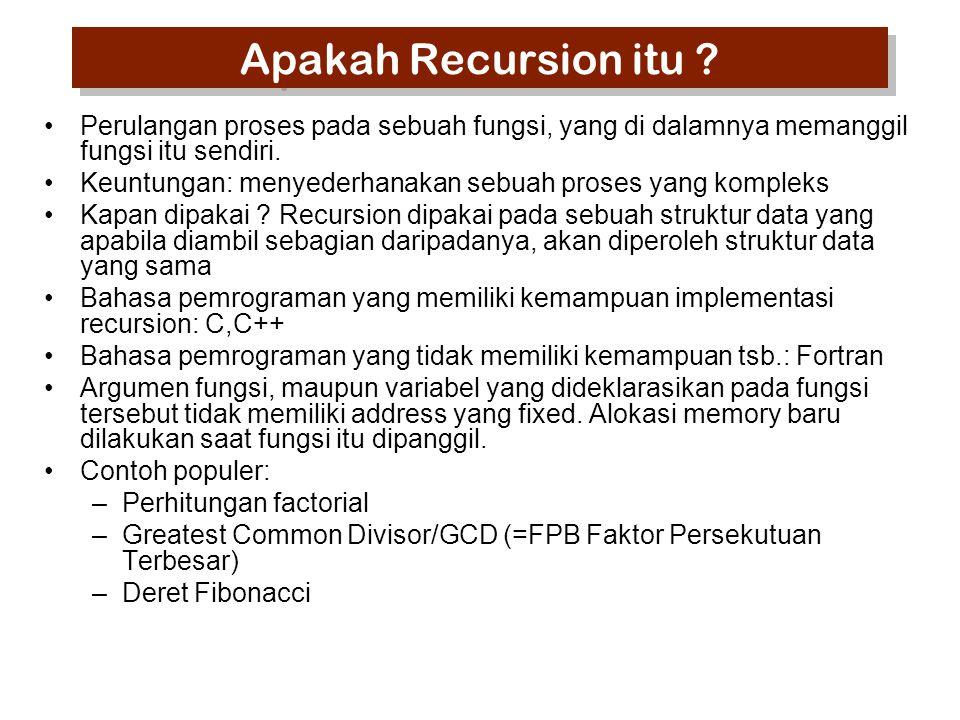 Apakah Recursion itu Perulangan proses pada sebuah fungsi, yang di dalamnya memanggil fungsi itu sendiri.