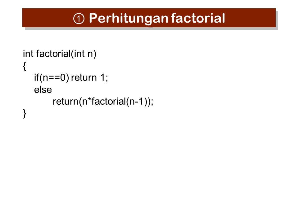① Perhitungan factorial