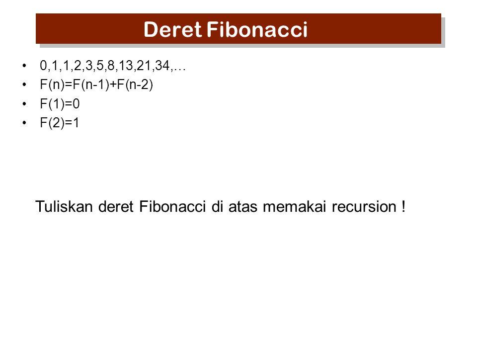 Deret Fibonacci Tuliskan deret Fibonacci di atas memakai recursion !
