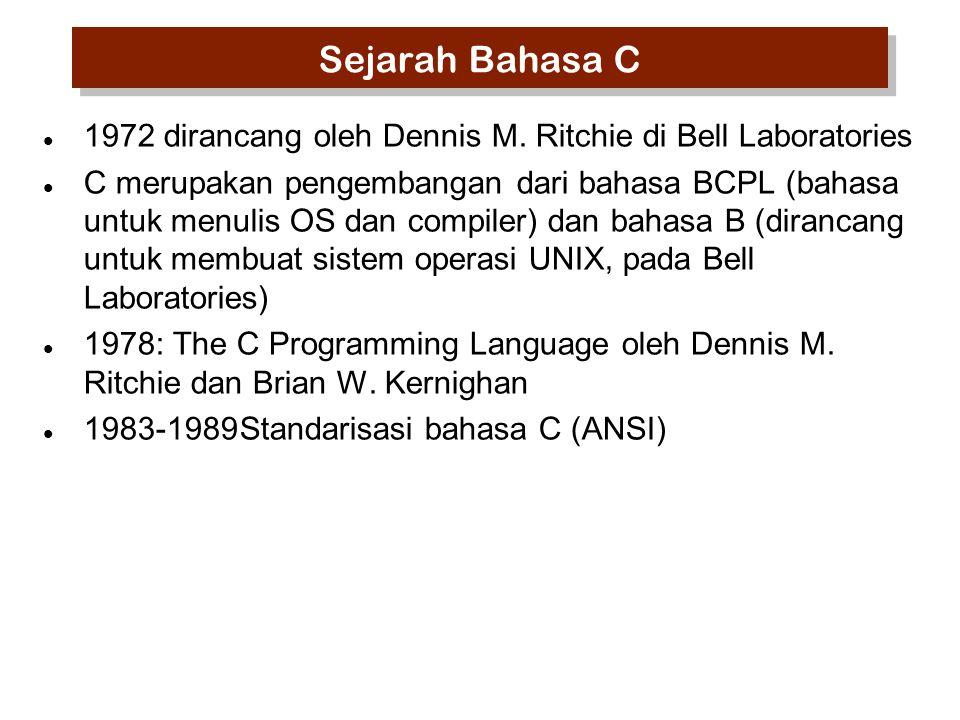 Sejarah Bahasa C 1972 dirancang oleh Dennis M. Ritchie di Bell Laboratories.